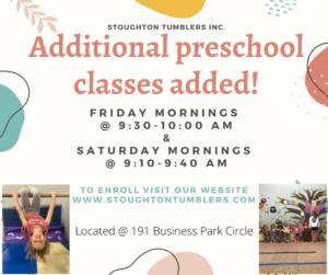 Additional preschool classes added!